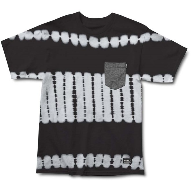 triko GRIZZLY - Baltic Tie-Dye S/S Pocket Knit Black (BLK)