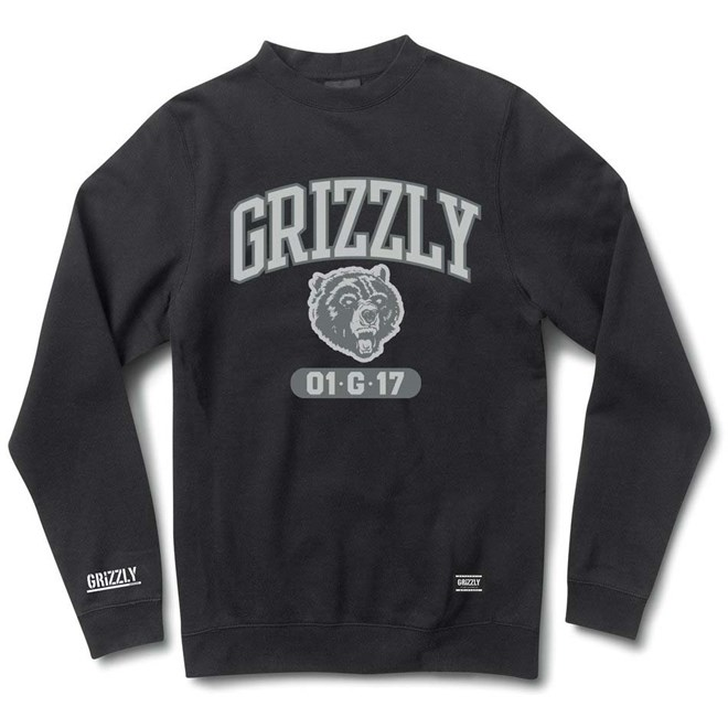 mikina GRIZZLY - Halftime Crewneck Black (BLK)