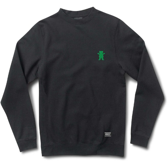 mikina GRIZZLY - Og Bear Emb Crewneck Black/Green (BKGN)