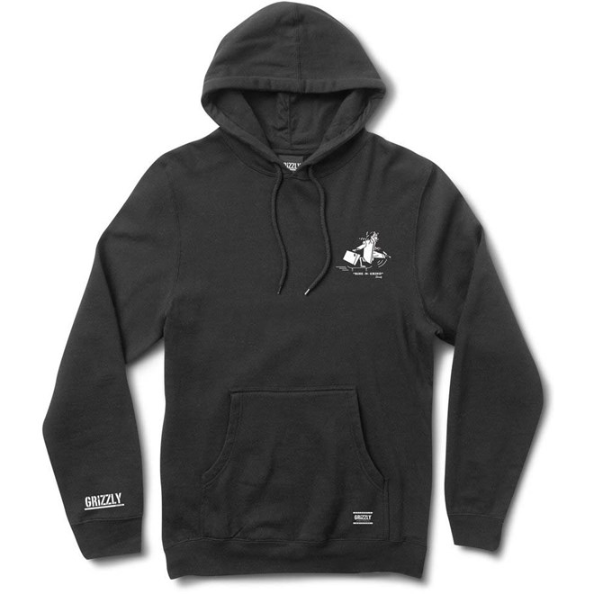 mikina GRIZZLY - Rise N Grind Hoody Black (BLK)