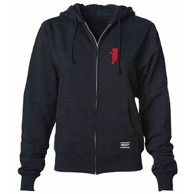 mikina GRIZZLY - Og Bear Youth Zip-Up Hoodie Black/Red (BRED)