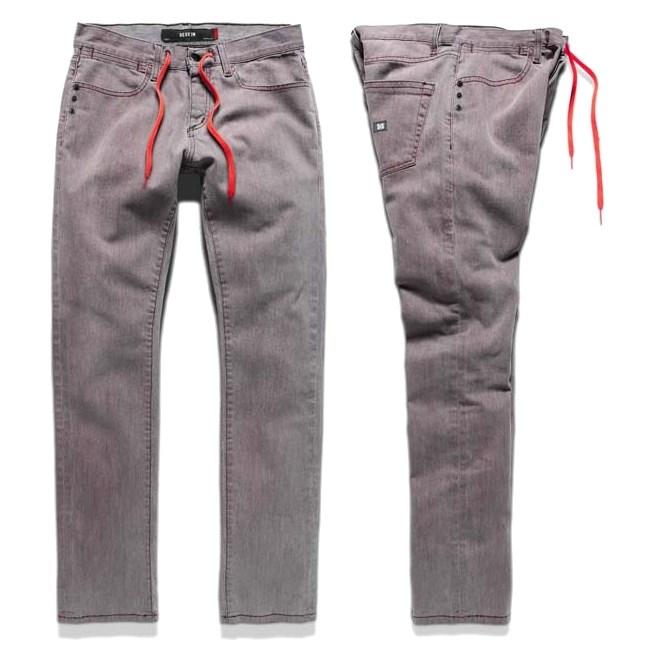 kalhoty KREW - Slim Denim Red Tint (RED)