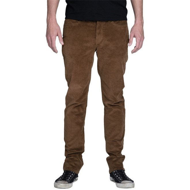 kalhoty KREW - Bots K Slim 5 Pocket Medium Brown (MBN)