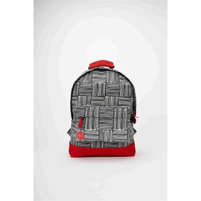 batoh MI-PAC - Mini Scribble Check Monochrome/Red (033)