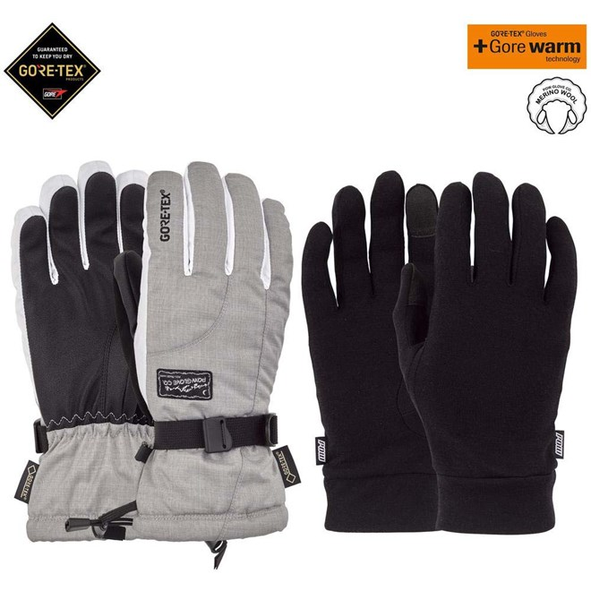 rukavice POW - Ws Crescent GTX Long Glove + WARM Ash (AS)