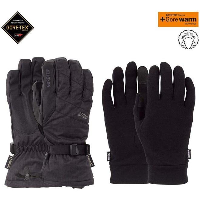 rukavice POW - Warner GTX Long Glove + WARM Black (BK)
