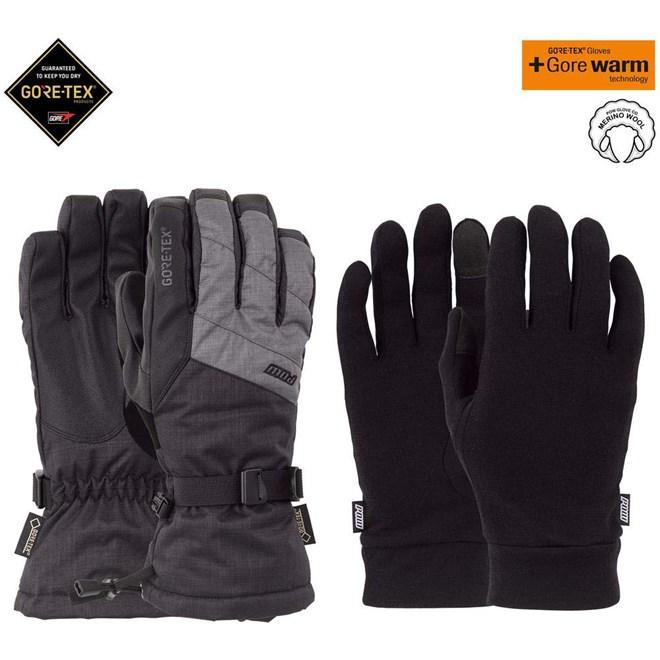 rukavice POW - Warner GTX Long Glove + WARM Charcoal (CH)