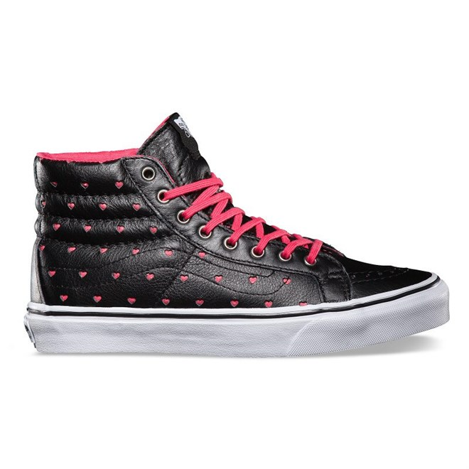 boty VANS - Sk8-Hi Slim (Leather Perf Hearts) Black/True White (8O0)