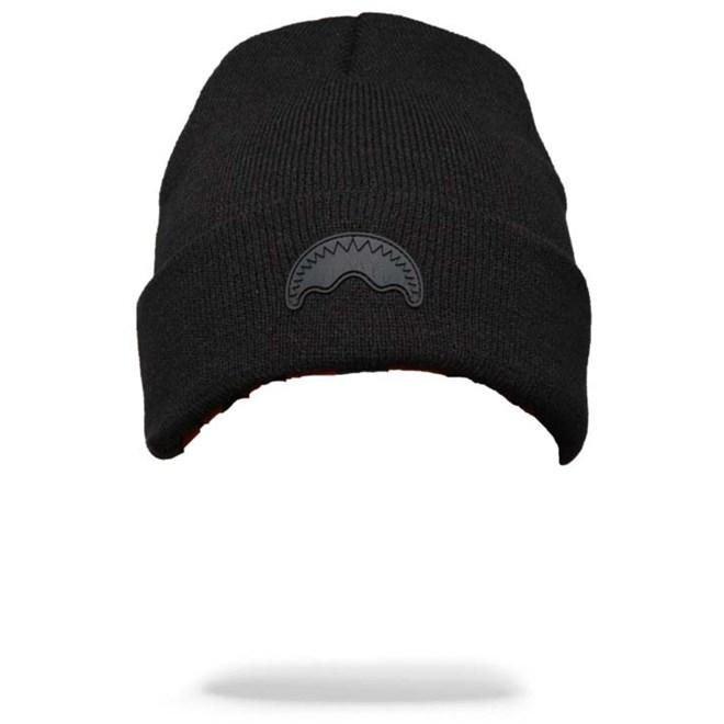 kulich SPRAYGROUND - Black Rubber Shark Beanie (000)