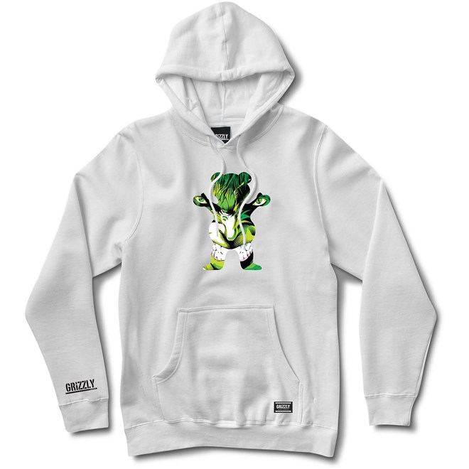mikina GRIZZLY - Grizzly X Hulk Pull Over White (WHITE)