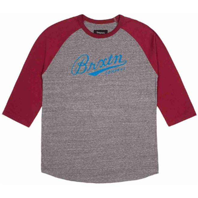 triko BRIXTON - Fenway Heather Grey/Burgundy (0359)