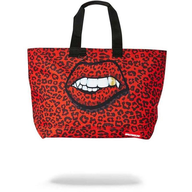 taška přes rameno SPRAYGROUND - Red Leopard Lips Tote Bag (MULTI)