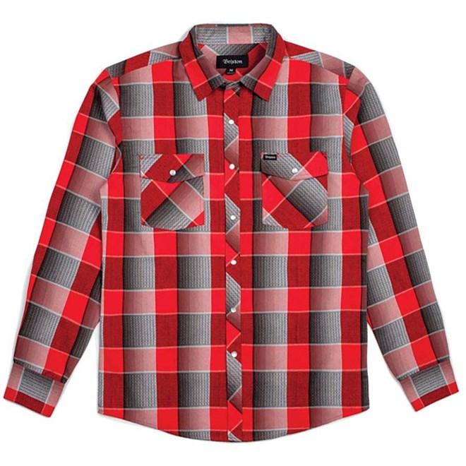 košile BRIXTON - Wayne L/S Wvn Red/Grey (RDGRY)