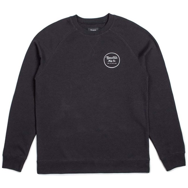 mikina BRIXTON - Wheeler Crew Fleece Black/White (BKWHT)