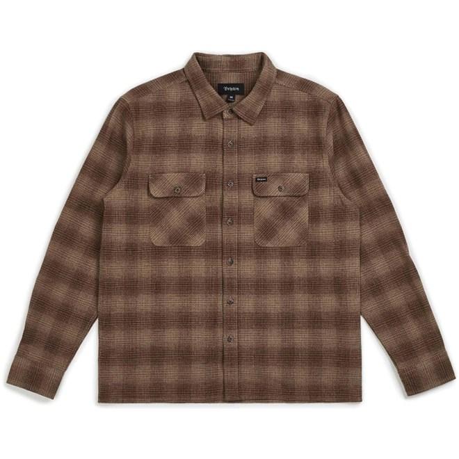 košile BRIXTON - Archie L/S Flannel Cream/Brown (CRBRN)