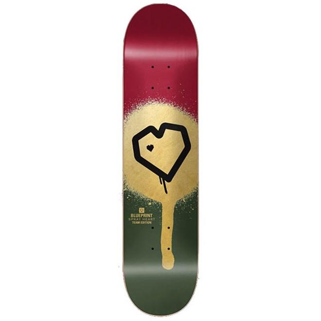 deska BLUE PRINT - Spray Heart Burgandy/Gold 8.125 (BURGLD)