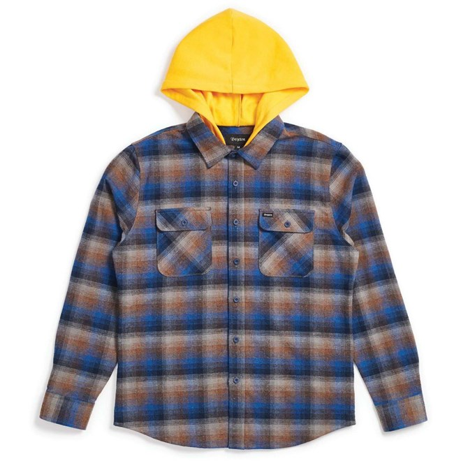 košile BRIXTON - Bowery Hood L/S Flnl Navy/Gold (NVGLD)