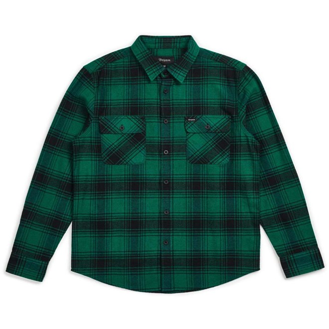 Hemd BRIXTON - Bowery LS Flannel Green-Black (GRBLK)
