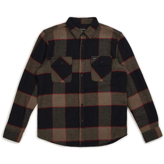 košile BRIXTON - Bowery L/S Flannel Heather Grey/Charcoal (HTGCH)