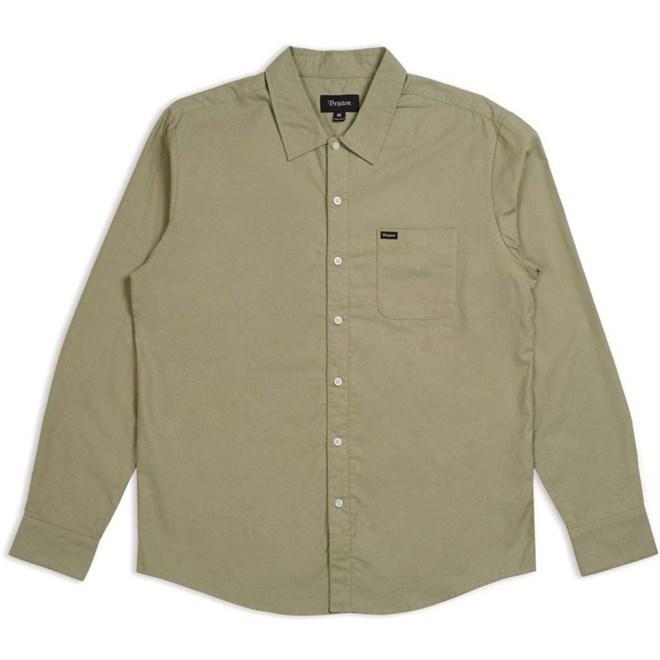 košile BRIXTON - Charter Oxford L/S Wvn Sage (SAGE)