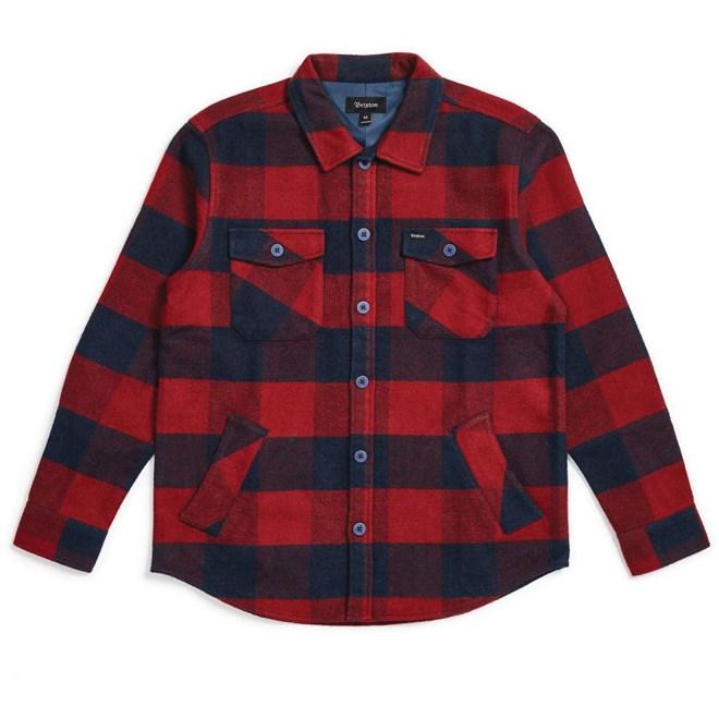 košile BRIXTON - Durham L/S Flannel Navy/Red (NVRED)
