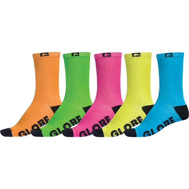 ponožky GLOBE - Neon Crew Sock 5 Pack Assorted (AST)