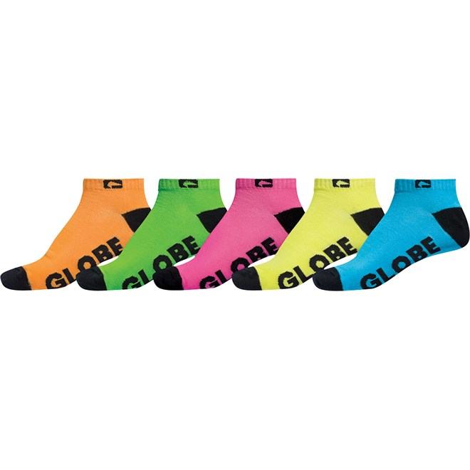 ponožky GLOBE - Neon Ankle Sock 5 Pack Assorted (AST)