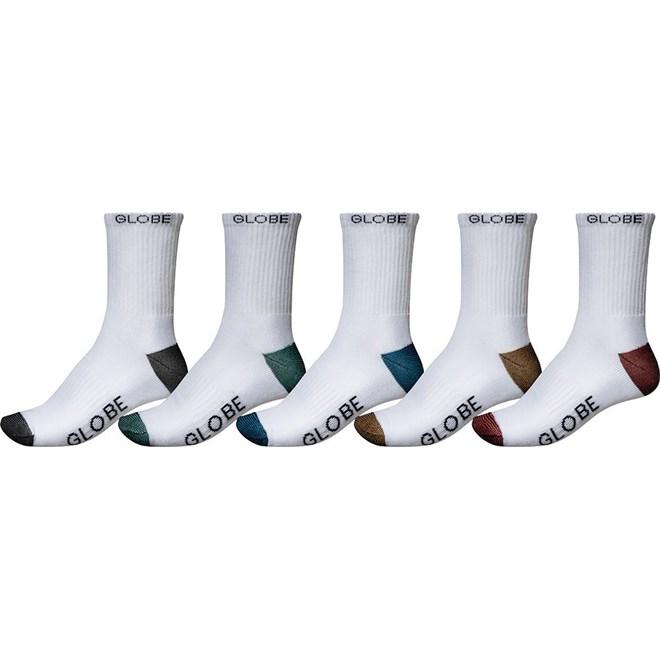 ponožky GLOBE - Ingles Crew Sock 5 Pack White (WHT)